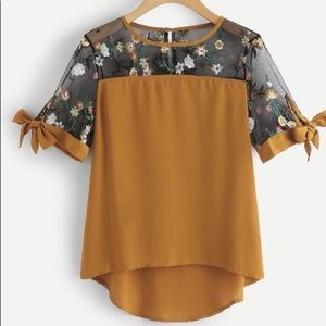 Embroidered Floral Mesh Mustard Top Blouse